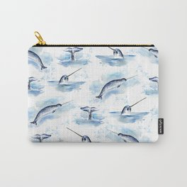 Watercolor Narwhals Carry-All Pouch
