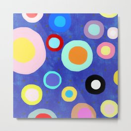Marine Blue Watercolour Happy Circles Metal Print