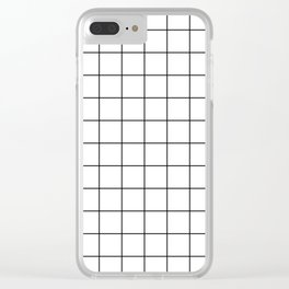 Grid Simple Line White Minimalist Clear iPhone Case