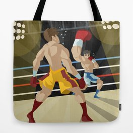 boxer performing an uppercut punch on opponent Tote Bag