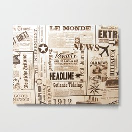 Vintage Newspaper Ads Black and White Typography Metal Print