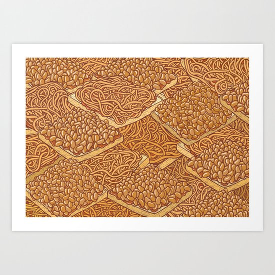 Baked Beans & Spaghetti On Toast Art Print