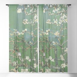 Almond Blossom - Vincent Van Gogh (avocado pastel) Sheer Curtain