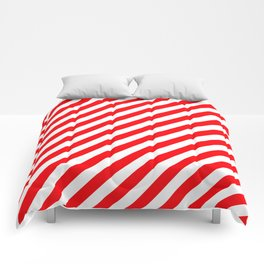 Christmas Red and White Candy Cane Stripes Comforters