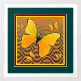 Dark Teal Yellow Butterflies Pattern Art Print