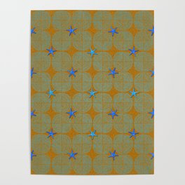 Blue starfish on a green beach Poster