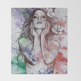 The Withering Spring: Wine (nude tattooed girl with flowers) Throw Blanket