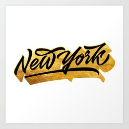 New York Black and Gold awesome lettering Art Print