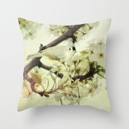 Tufted Titmouse Spring Flower Farmhouse Art Country Home Decor A132 Throw Pillow