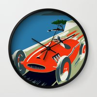 grand theft auto Wall Clocks featuring Retro style auto Grand Prix Rivièra by aapshop