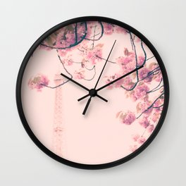 Parris in pink, Eiffel Tower and Cherrie Blossoms Wall Clock