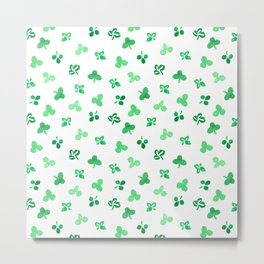 Clover Leaves on White Pattern Metal Print