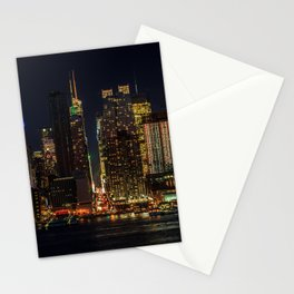 Photo Manhattan New York City USA megalopolis Night Skyscrapers Cities Megapolis night time Stationery Cards