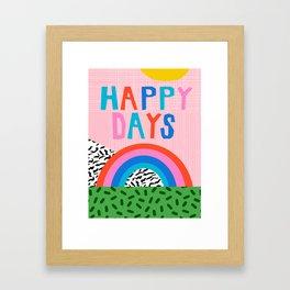 High Key - memphis retro 80's positive quote art print, retro rainbow art print Framed Art Print
