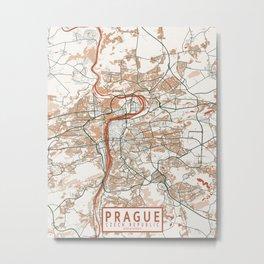 Prague City Map of Czech Republic - Bohemian Metal Print