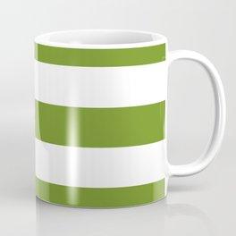 Olive Drab (#3) - solid color - white stripes pattern Coffee Mug