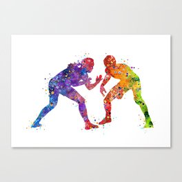 Wrestling Female Male Colorful Watercolor Art Wrestler Sports Gift Canvas Print