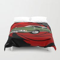 james bond Duvet Covers featuring James Bond Aston Martin DBS from OHMSS by car2oonz
