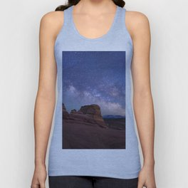 Delicate Arch Under the Starry Sky in Arches National Park Panorama Unisex Tank Top