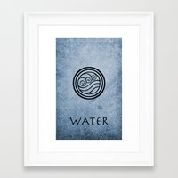 avatar the last airbender Framed Art Prints featuring Avatar Last Airbender - Water by bdubzgear