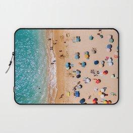 People On Algarve Beach In Portugal, Drone Photography, Aerial Photo, Ocean Wall Art Print Laptop Sleeve