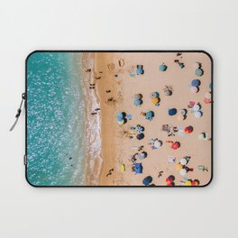 People On Algarve Beach In Portugal, Drone Photography, Aerial Photo, Ocean Wall Art Print Laptop Sleeve
