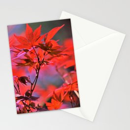 Red Japanese Maple Leaves Stationery Cards