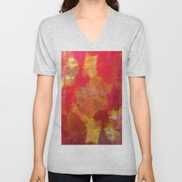 Fight Fire With Fire - Textured Metallic Abstract in red, white, black, orange and yellow Unisex V-Neck