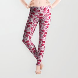 Cats Dream Stars Watercolor Pets Pattern Pink Red Leggings