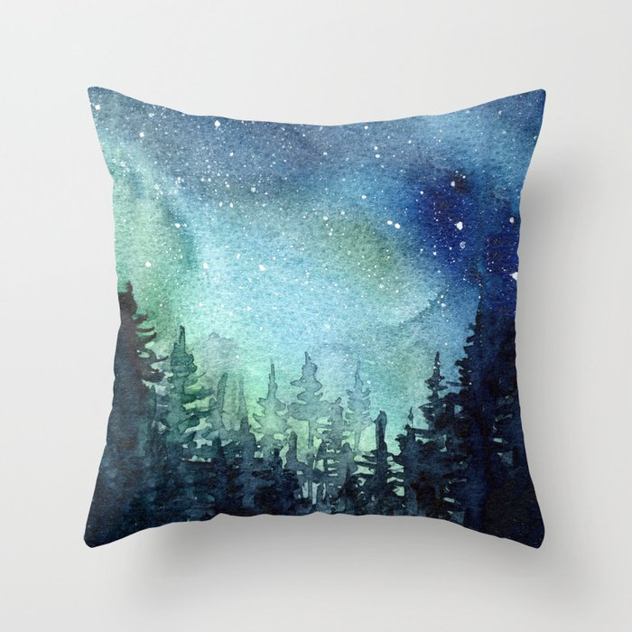 Galaxy Watercolor Aurora Borealis Painting Throw Pillow