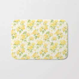 Modern  sunshine yellow green hortensia flowers Bath Mat