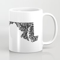 maryland Mugs featuring Typographic Maryland by CAPow!