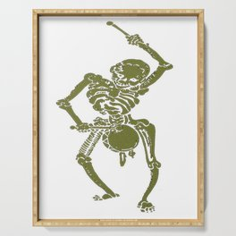 A Zombie Undead Skeleton Marching and Beating A Drum Serving Tray