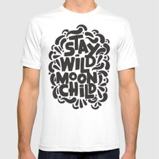 STAY WILD MOON CHILD White MEDIUM Mens Fitted Tee