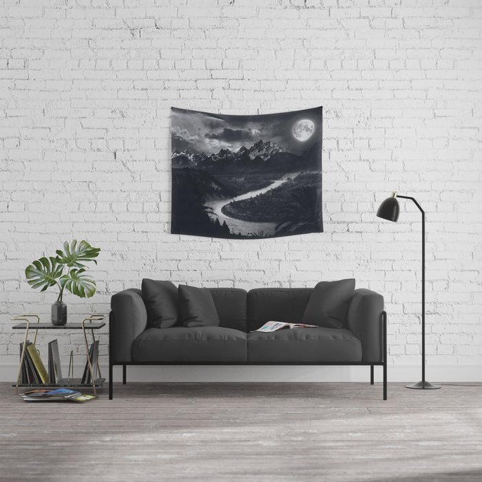 Moon Mountains and River Wall Tapestry