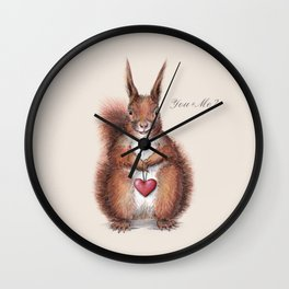 Squirrel heart love Wall Clock