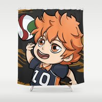 volleyball Shower Curtains featuring Hinata_ haykuu by memo_alatouly
