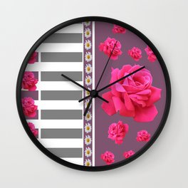 MODERN  PINK ROSES ON PUCE COLOR ART Wall Clock