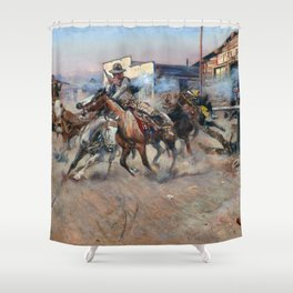 Smoke of a .45 by Charles Marion Russell (1908) Shower Curtain