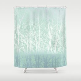 Frosted Winter Branches in Misty Green Shower Curtain