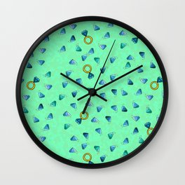 Diamond Pattern Cartoon Pins Ring Patch Style Teal Blue Cell Duck Egg Blue Design Wall Clock