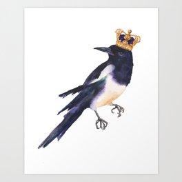 Magpie Monarch Art Print