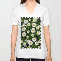 daisies V-neck T-shirts featuring Daisies by Mauricio Togawa
