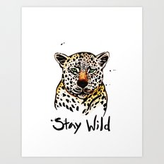 Stay Wild Leopard Illustration Art Print