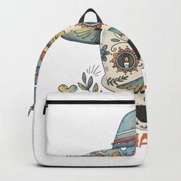 Happy Halloween colorful retro floral sugar skull Backpack