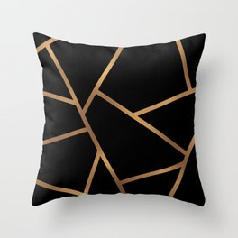 Black and Gold Fragments - Geometric Design Throw Pillow