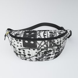 analog synthesizer system - modular black and white Fanny Pack