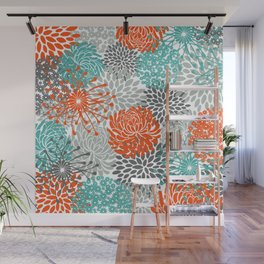 Orange and Teal Floral Abstract Print Wall Mural