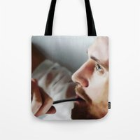 tom hiddleston Tote Bags featuring Tom Hiddleston by Kate Dunn