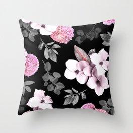 Night bloom - pink blush Throw Pillow